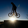 Tyler Crespin, 20, rides at Stephen Day Park in Longmont on Wednesday, Feb. 13, 2013. <br /> (Greg Lindstrom/Times-Call)