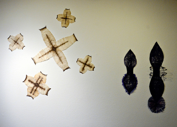 Jill Powers' art at the Firehouse Art Center in Longmont on Monday, Jan. 21, 2013. <br /> (Greg Lindstrom/Times-Call)