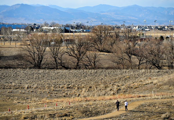 Joggers enjoy an afternoon workout along the St. Vrain Greenway near Sandstone Ranch in Longmont on Friday, Feb. 8, 2013. <br /> (Greg Lindstrom/Times-Call)