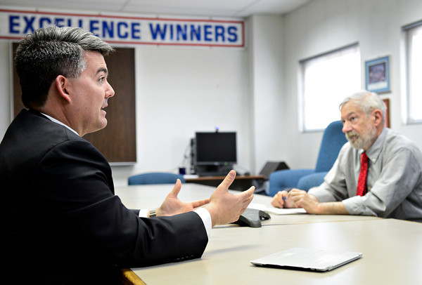 Congressman Cory Gardner, left, meets with Times-Call reporter John Fryer in Longmont on Monday, Feb. 11, 2013. <br /> (Greg Lindstrom/Times-Call)