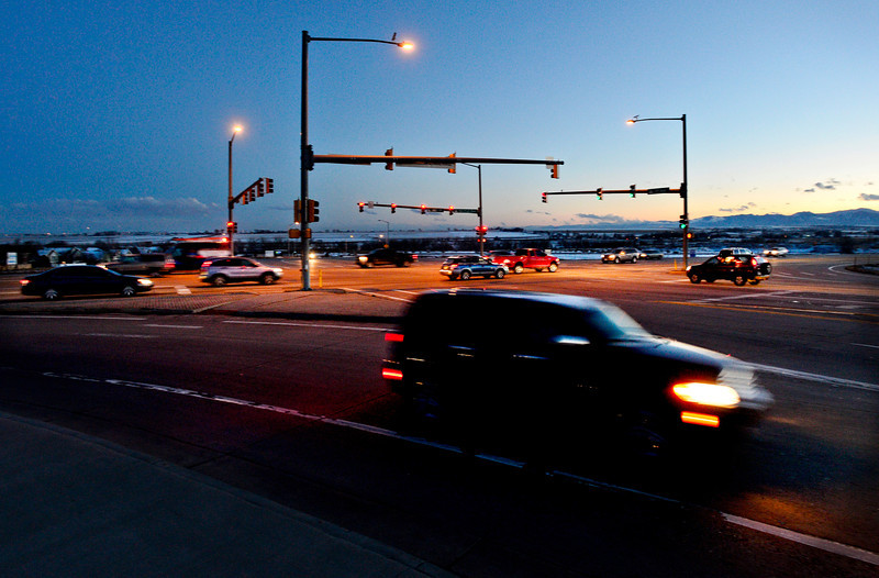 Evening traffic along Ken Pratt Boulevard at the intersection with Third Avenue east of Longmont on Monday, March 4, 2013.<br /> (Greg Lindstrom/Times-Call)