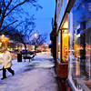 Dave Sonnesyn bundles up Wednesday evening, Feb. 20, 2013, while walking through downtown Longmont after work. Light snow began falling Wednesday evening, and accumulations of 3 to 6 inches are expected in Boulder County overnight. The snow is expected to taper off early Thursday.<br /> (Greg Lindstrom/Times-Call)