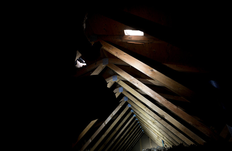 Nikki Chandler, of Ultimate Properties and Development, photographs the insulation in the attic while conducting an energy audit, Tuesday, Jan. 15, 2013, at Matthew Kenworthy's home in Longmont.<br /> (Matthew Jonas/Times-Call)