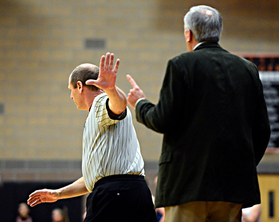"Berthoud head coach Randy Earl argues a call with an official during the game at Erie High School on Thursday, Dec. 20, 2012. Erie beat Berthoud 30-27. For more photos visit  <a href=""http://www.BoCoPreps.com"">http://www.BoCoPreps.com</a>.<br /> (Greg Lindstrom/Times-Call)"