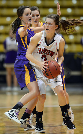 Fairview's Katie Kuosman is covered by Boulder's Maddie Gates Saturday night Jan. 19, 2013 at the Coors Events Center. (Lewis Geyer/Times-Call)