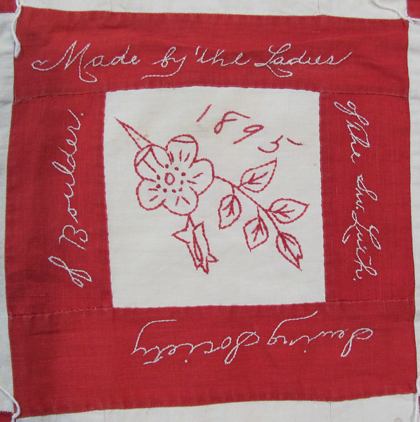 A close-up of a square from First Evangelical Lutheran Church's friendship quilt, which was made in 1895.