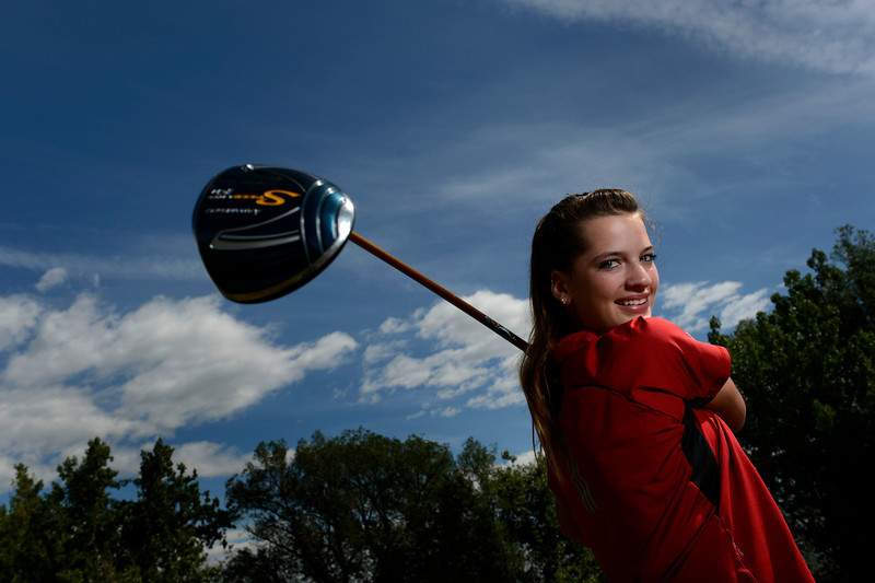 Skyline golf team member Adara Pauluhn poses for a portrait Friday, June 1, 2012 at Niwot High School. Pauluhn is a Niwot student who plays on the Skyline golf team which is made up of players from St. Vrain Valley Schools.<br /> (Matthew Jonas/Times-Call)
