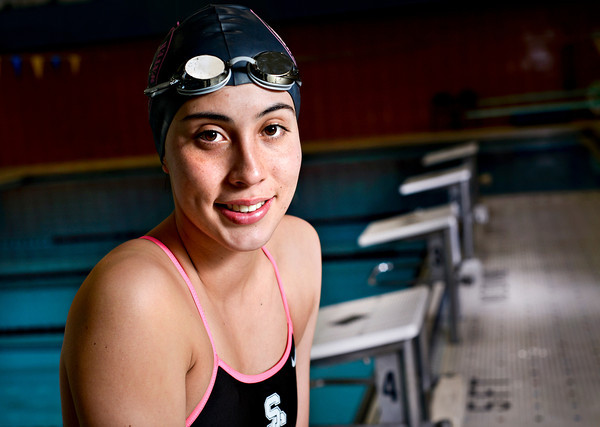 Silver Creek senior Diana Tobo, a transfer student from Colombia, is pictured at Centennial Pool in Longmont on Tuesday, Feb. 5, 2013. <br /> (Greg Lindstrom/Times-Call)