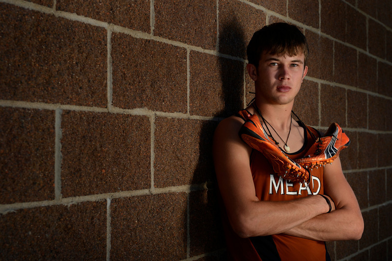 Mead High School sprinter Alex Mead, poses for a portrait Monday, June 4, 2012 at MHS. Mead won both the Class 3A 100- and 200-meter sprints setting new state records at the 2012 State Track and Field Championships.<br /> (Matthew Jonas/Times-Call)