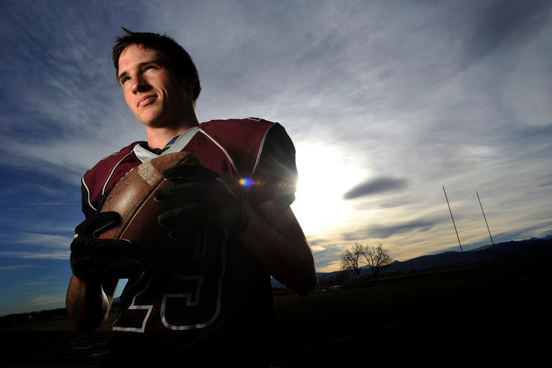 Silver Creek High School's Ross Fitzgerald poses for a portrait, Wednesday, Nov. 21, 2012, at SCHS. Fitzgerald leads Class 3A football with seven interceptions.<br /> (Matthew Jonas/Times-Call)