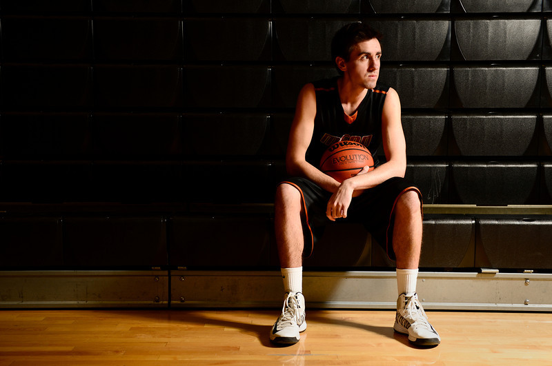 Mead High School's Ryan Lozinski poses for a portrait, Wednesday, Jan. 16, 2013, at MHS. Lozinski is among the best scorers in Class 4A basketball.<br /> (Matthew Jonas/Times-Call)