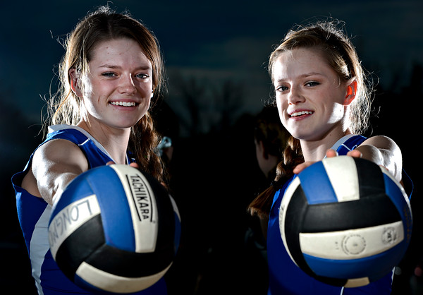 The Haddock twins, Lacy, left, and Lyndie, pose for a portrait at Longmont High School on Wednesday, Oct. 31, 2012. <br /> (Greg Lindstrom/Times-Call)