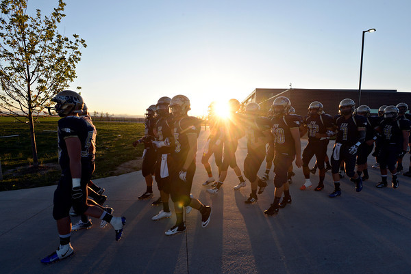 """The Warriors take the field before the game.  Frederick beat Berthoud 41-14 during the game at Frederick High School on Friday, Sept. 14, 2012.  For more photos visit  <a href=""""http://www.TimesCall.com"""">http://www.TimesCall.com</a>.<br /> (Greg Lindstrom/Times-Call)"""