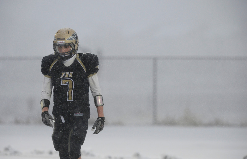 Frederick's Michael Broz in the wintry conditions against Eagle Valley Saturday Nov. 10, 2012 at Frederick High School. (Lewis Geyer/Times-Call)