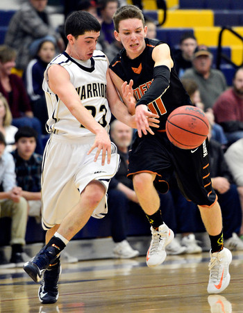 "Frederick's Christian Martinez (23) and Mead's Conor Lamb (11) compete for a loose ball during the game at Frederick High School on Friday, Feb. 1, 2013. Frederick beat Mead 50-40. For more photos visit  <a href=""http://www.BoCoPreps.com"">http://www.BoCoPreps.com</a><br /> (Greg Lindstrom/Times-Call)"