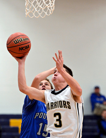 "Frederick's Lucas Adams (3) tries to shoot over Poudre's Tucker Clay in the first quarter during the game at Frederick High School on Wednesday, Nov. 28, 2012.  Frederick beat Poudre 53-51.  For more photos visit  <a href=""http://www.BoCoPreps.com"">http://www.BoCoPreps.com</a>.<br /> (Greg Lindstrom/Times-Call)"