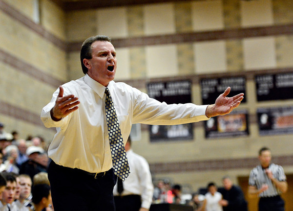 """Frederick head coach Larry Frank argues a call during the game at Silver Creek High School on Friday, Dec. 14, 2012. For more photos visit  <a href=""""http://www.BoCoPreps.com"""">http://www.BoCoPreps.com</a>.<br /> (Greg Lindstrom/Times-Call)"""