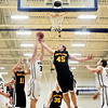 """Frederick's Ryan Miller (34) and Skyline's Zach Anthony (45) compete for a rebound during the game at Frederick High School on Friday, Jan. 25, 2013. Skyline beat Frederick 62-51. For more photos visit  <a href=""""http://www.BoCoPreps.com"""">http://www.BoCoPreps.com</a>.<br /> (Greg Lindstrom/Times-Call)"""