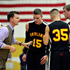 """Skyline head coach Michael Peterson gives his team instructions during the game at Frederick High School on Friday, Jan. 25, 2013. Skyline beat Frederick 62-51. For more photos visit  <a href=""""http://www.BoCoPreps.com"""">http://www.BoCoPreps.com</a>.<br /> (Greg Lindstrom/Times-Call)"""