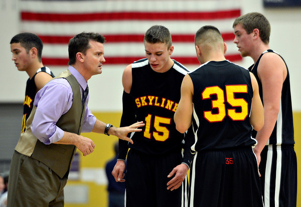 "Skyline head coach Michael Peterson gives his team instructions during the game at Frederick High School on Friday, Jan. 25, 2013. Skyline beat Frederick 62-51. For more photos visit  <a href=""http://www.BoCoPreps.com"">http://www.BoCoPreps.com</a>.<br /> (Greg Lindstrom/Times-Call)"