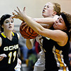 "Shining Mountain's Sarrah Claman, center, competes for a rebound against Gilpin County's Ashlen Cortez, right, and Katura Sales (11) during the game at Shining Mountain Waldorf School on Thursday, Feb. 14, 2013. Gilpin County beat Shining Mountain 34-23. For more photos visit  <a href=""http://www.BoCoPreps.com"">http://www.BoCoPreps.com</a>.<br /> (Greg Lindstrom/Times-Call)"