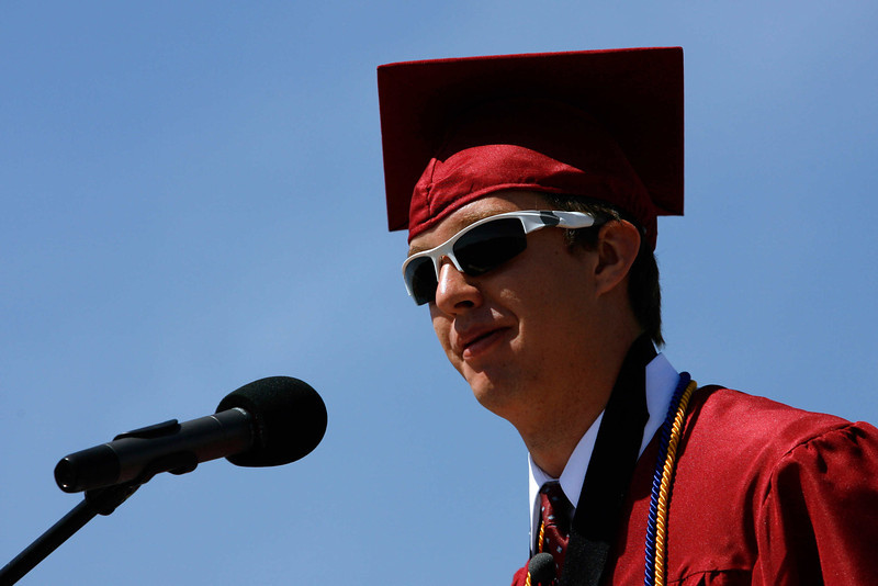 Student body president Michael Drummond addresses his classmates during the Silver Creek High School graduation ceremony, May 29, 2010.