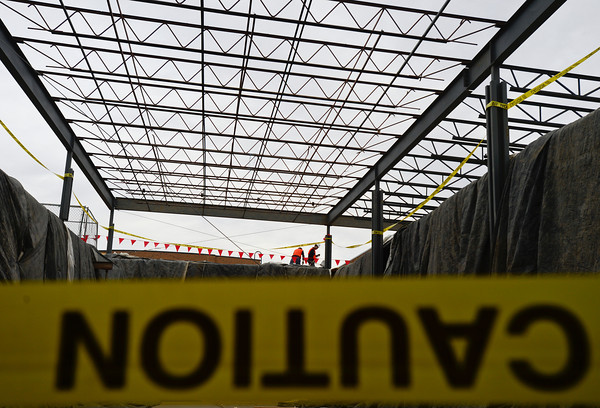 Construction on the new raised roof of the cafeteria is seen at the Thunder Valley K-8 school, Wednesday, Jan. 23, 2013, at the former Frederick Senior High School.<br /> (Matthew Jonas/Times-Call)
