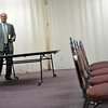 Pastor Corey Seulean points out the table, Friday, Jan.11, 2013, where he remembers seeing Kendra Balentine playing board games on New Years Eve at the Messiahville Baptist Church in Longmont.<br /> (Matthew Jonas/Times-Call)