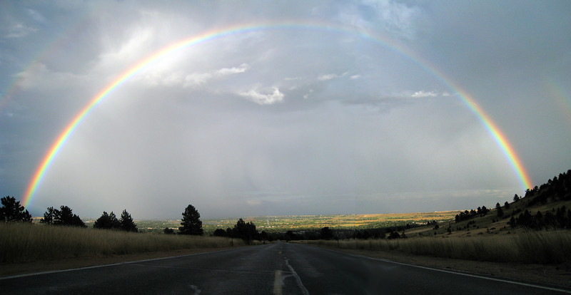 A rainbow makes an appearance in rain clouds east of Boulder Wednesday Sept. 8, 2010. (Morgan Varon/Times-Call)