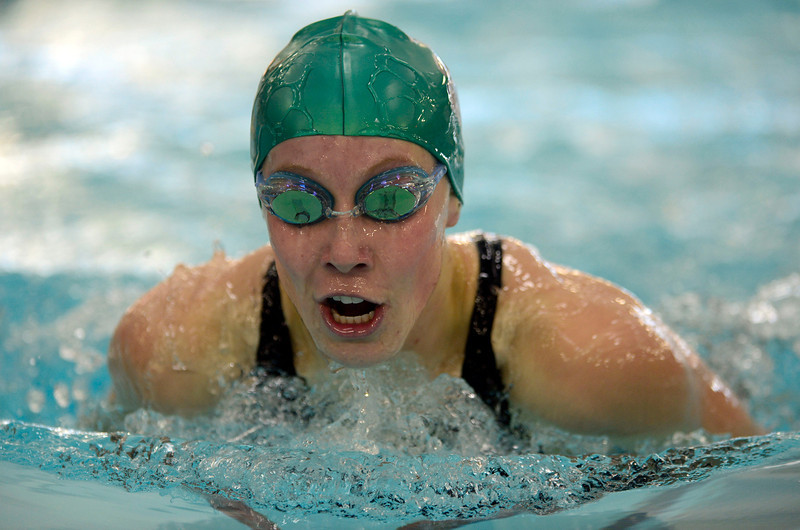 Niwot's Hannah Driscoll swims to a first place finish in the 200 yard IM during the All City Invitational swim meet at Centennial Pool Saturday, Jan. 19, 2013. (Lewis Geyer/Times-Call)