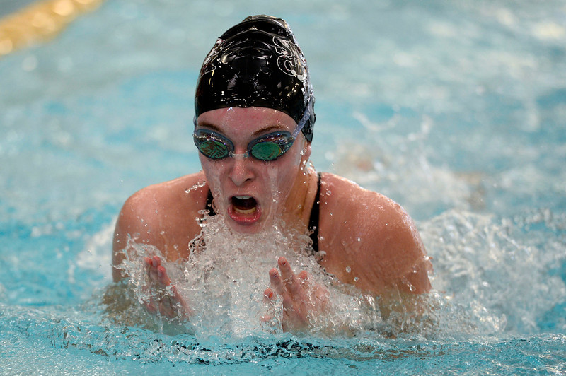 Silver Creek's Madi Pelton swims in the 200 yard medley relay during the All City Invitational swim meet at Centennial Pool Saturday, Jan. 19, 2013. Silver Creek, also including Diana Tobo, Morgan McKean, and Kylie Rembert, won the event. (Lewis Geyer/Times-Call)
