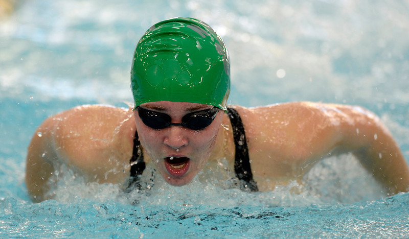 Niwot's Victoria Jepsen swims to a first place finish in the 100 yard butterfly during the All City Invitational swim meet at Centennial Pool Saturday, Jan. 19, 2013. (Lewis Geyer/Times-Call)