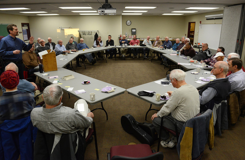 John Thieme, pastor of Christ Our Savior Lutheran Church, preaches during the Longmont Christian Men's Fellowship Wednesday morning Feb. 13, 2013 at the Longmont Senior Center. The group, which started in 1993, celebrated its 1,000th meeting. (Lewis Geyer/Times-Call)