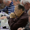Pastor James Johnston prays during the Longmont Christian Men's Fellowship Wednesday morning Feb. 13, 2013 at the Longmont Senior Center. Johston is the pastor at First Pentecostal Church. (Lewis Geyer/Times-Call)