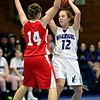 "Faith Baptist's Mandy McCormick (14) pressures Longmont Christian's Mary Dean (12) during the game at the St. Vrain Memorial Building in Longmont on Friday, Nov. 30, 2012. Faith Baptist beat Longmont Christian 26-25. For more photos visit  <a href=""http://www.BoCoPreps.com"">http://www.BoCoPreps.com</a>.<br /> (Greg Lindstrom/Times-Call)"