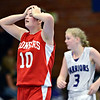 "Faith Baptist's Hailey Schulman (10) reacts after a play during the game at the St. Vrain Memorial Building in Longmont on Friday, Nov. 30, 2012. Faith Baptist beat Longmont Christian 26-25. For more photos visit  <a href=""http://www.BoCoPreps.com"">http://www.BoCoPreps.com</a>.<br /> (Greg Lindstrom/Times-Call)"