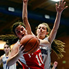 "Longmont Christian's Lizzie Ehr, right, puts pressure on Faith Baptist's Hailey Schulman during the game at the St. Vrain Memorial Building in Longmont on Friday, Nov. 30, 2012. Faith Baptist won 26-25. For more photos visit  <a href=""http://www.BoCoPreps.com"">http://www.BoCoPreps.com</a>.<br /> (Greg Lindstrom/Times-Call)"