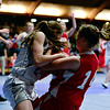 """Faith Baptist's Mandy McCormick, right, and Longmont Christian's Lizzie Ehr battle for a loose ball during the game at the St. Vrain Memorial Building in Longmont on Friday, Nov. 30, 2012. Faith Baptist beat Longmont Christian 26-25. For more photos visit  <a href=""""http://www.BoCoPreps.com"""">http://www.BoCoPreps.com</a>.<br /> (Greg Lindstrom/Times-Call)"""