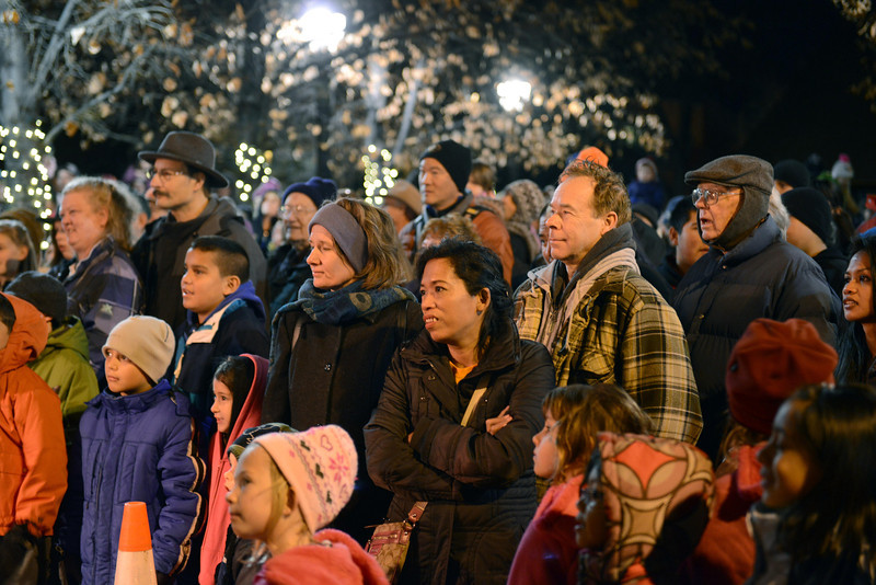 """The crowd watches performers during the """"Hooray, Hooray for the Holidays"""" downtown tree lighting ceremony Friday night Nov. 23, 2012 at Sixth Avenue and Main Street. Hundreds were entertained with caroling, an ice-carved sleigh, and a host of holiday characters as the 17-foot tree was lit.(Lewis Geyer/Times-Call)"""