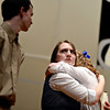 """Kyla Dierking, center, playing the role of Maria von Trapp, hugs Cailin Doran, playing Liesl von Trapp, while Jeremy Edwards, left, performs during a dress rehearsal Monday, Feb. 18, 2013, for Longmont High School's production of """"The Sound of Music,"""" the first musical in the new auditorium. Performances are scheduled at 7 p.m. Feb. 22, Feb. 23, March 1 and March 2 at the high school, 1040 Sunset St., Longmont. For more photos and a video, visit  <a href=""""http://www.TimesCall.com"""">http://www.TimesCall.com</a>.<br /> (Greg Lindstrom/Times-Call)"""