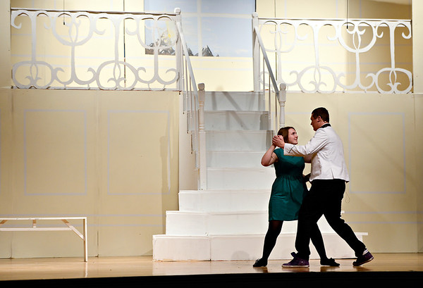 "Kyla Dierking, playing the role of Maria von Trapp, dances with Alex Weber, playing Capt. Georg von Trapp, during a dress rehearsal Monday, Feb. 18, 2013, for Longmont High School's production of ""The Sound of Music,"" the first musical in the new auditorium. Performances are scheduled at 7 p.m. Feb. 22, Feb. 23, March 1 and March 2 at the high school, 1040 Sunset St., Longmont. For more photos and a video, visit  <a href=""http://www.TimesCall.com"">http://www.TimesCall.com</a>.<br /> (Greg Lindstrom/Times-Call)"