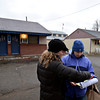 "Volunteer Gina Walker, right, and Janet Walker Ready, survey coordinator for Longmont, go over Metropolitan Denver Homeless Initiative's point-in-time survey with Emily Pritchard outside the Bar-L Motel in Longmont on Monday, Jan. 28, 2013. The survey provides a snapshot of homelessness in seven counties along the Front Range. For more photos visit  <a href=""http://www.TimesCall.com"">http://www.TimesCall.com</a>.<br /> (Greg Lindstrom/Times-Call)"