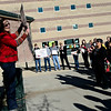 Carmen Ramirez, left, speaks to a group during the Dr. Martin Luther King Marade (March/Parade) and Celebration Program at Silver Creek High School in Longmont on Monday, Jan. 21, 2013.<br /> (Greg Lindstrom/Times-Call)