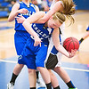 Longmont's #3, Gabriella Fallon gets tangled with Broomfield's #31, Brenna Frankell, while rebounding during their game at Longmont High School on Tuesday evening, January 15th, 2013.<br /> <br /> Photo by: Jonathan Castner/For the Times-Call