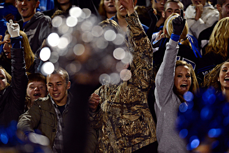 "Longmont fans cheer after a Trojan touchdown during the game at Longmont High School on Friday, Nov. 2, 2012. Longmont beat Greeley Central 42-25. For more photos visit  <a href=""http://www.BoCoPreps.com"">http://www.BoCoPreps.com</a>.<br /> (Greg Lindstrom/Times-Call)"