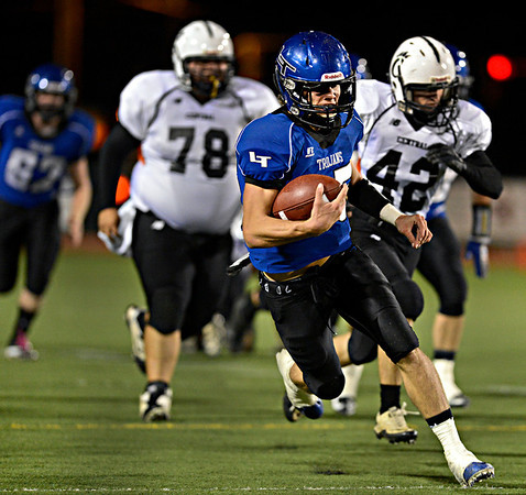 "Longmont's Forrest Wetterstrom runs past the Greeley Central defense during the game at Longmont High School on Friday, Nov. 2, 2012. For more photos visit  <a href=""http://www.BoCoPreps.com"">http://www.BoCoPreps.com</a>.<br /> (Greg Lindstrom/Times-Call)"