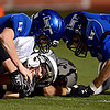 """Greeley Central's Travis Lechman (12) crosses the goal line for a touchdown during the game at Longmont High School on Friday, Nov. 2, 2012. Longmont beat Greeley Central 42-25. For more photos visit  <a href=""""http://www.BoCoPreps.com"""">http://www.BoCoPreps.com</a>.<br /> (Greg Lindstrom/Times-Call)"""