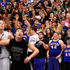 Longmont High School fans support a free throw shooter in the game against Silver Creek High School, Friday, Feb. 22, 2013, at LHS. The Trojans defeated the Raptors, 54-42.<br /> (Matthew Jonas/Times-Call)