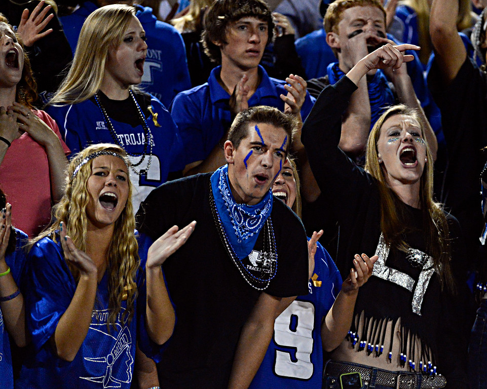 """Trojan fans cheer in the second half.  Windsor beat Longmont 27-17 at Everly-Montgomery Field in Longmont on Friday, Sept. 28, 2012.  For more photos visit  <a href=""""http://www.BoCoPreps.com"""">http://www.BoCoPreps.com</a>.<br /> (Greg Lindstrom/Times-Call)"""