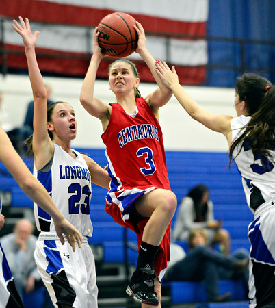 "Centaurus' Lyndie Puckett (3) shoots over Longmont's Kathryn Schell (23) during the game at Longmont High School on Friday, Jan. 18, 2013. Centaurus beat Longmont 41-36. For more photos visit  <a href=""http://www.BoCoPreps.com"">http://www.BoCoPreps.com</a>.<br /> (Greg Lindstrom/Times-Call)"